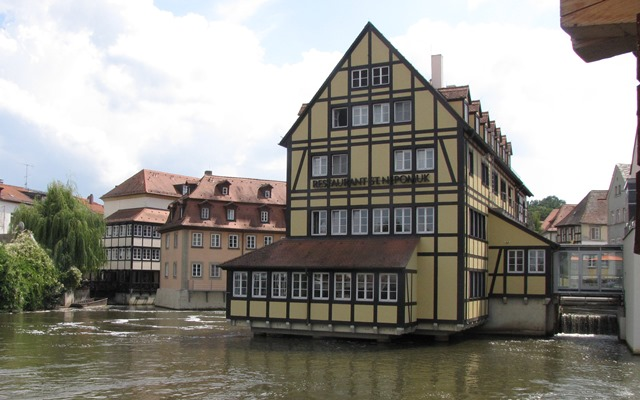 Restaurants and hotels sit on the waters of Bamberg Germany