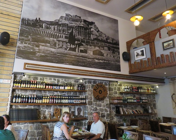 The Parthenon looms over the beer at Athens beer.