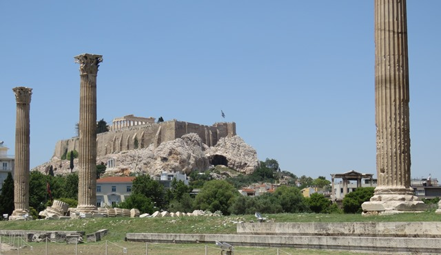 The Parthenon looms over the Temple of Olympian Zeus