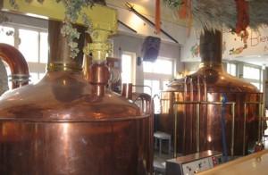 Schwetzingen Hausbrauerei zum Ritter's gleaming coppers show a well-cared for brewery