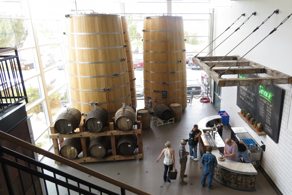 Start the tour in the foeder room -- with a beer.