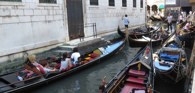 Venetian traffic jam - rush hour can be almost anytime on Venice's canals.